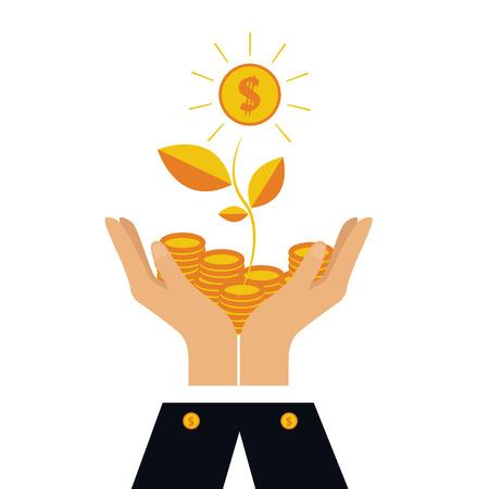 Vektor-Finanzkonzept im flachen Stil, der Geld investiert, Münzen in der Hand, Geld Treed