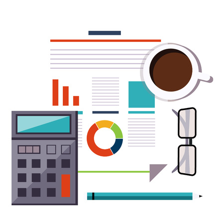 Financial accounting stock market analysis. Budget planning concept. Vector illustration Vektoros illusztráció