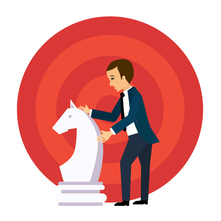 Vector business strategy concept in flat style, businessman holding chess figure, planning and management Illustration