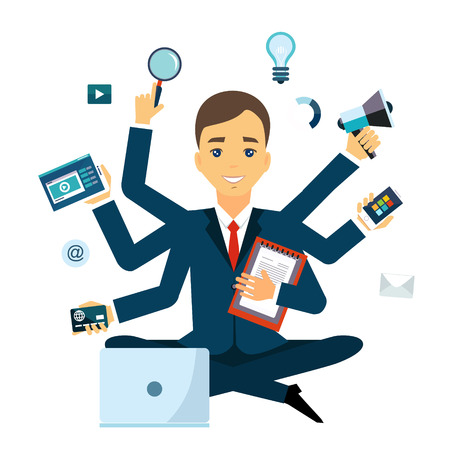 Businessman with multitasking and multi skill. Keep calm. Business concept. Flat design Иллюстрация