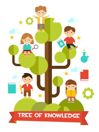 Conception plate de concept d'éducation créative avec arbre de la connaissance et enfants