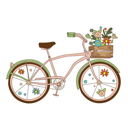 Retro bicycle with karzinkoy for flowers , hand-drawn Vector illustration.