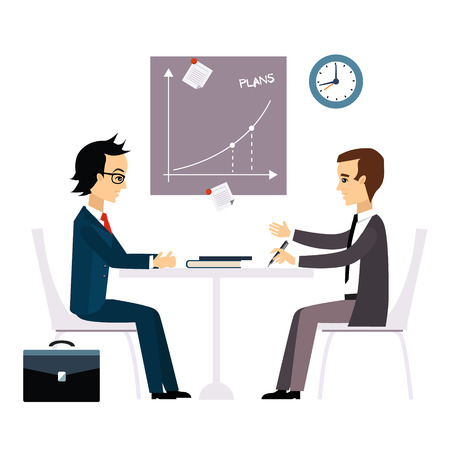 Business people, two men at the table negotiating Flat design.