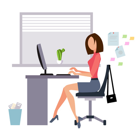 Woman working in office vector illustration flat style