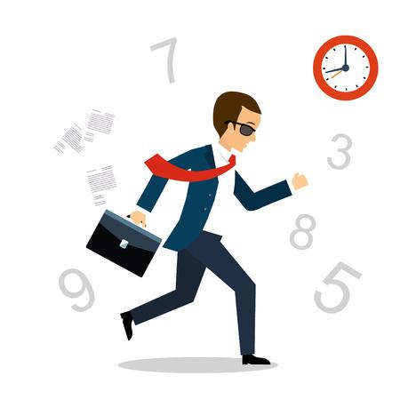 Running After Time. Time management vector illustration