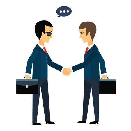 Deal, two businessmen shaking hands vector illustration