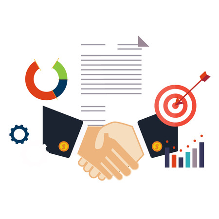 Deal, shaking hands vector illustration flat style Stock Illustratie
