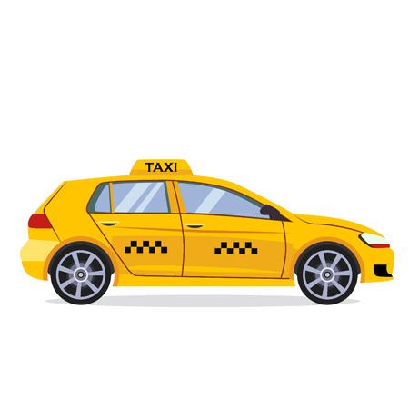 Diseño plano del coche de taxi, Ilustración de vector de color amarillo