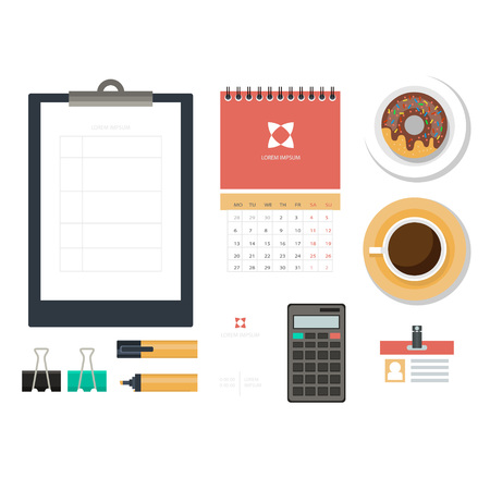 Workplace concept. Flat design. Set of objects on the table