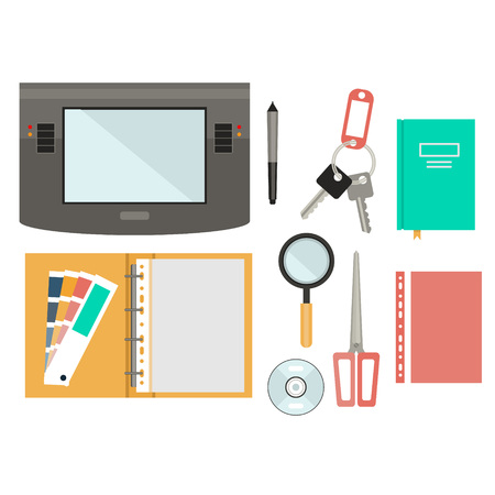 Workplace concept. Flat design. Set of objects on the table Foto de archivo - 128163205