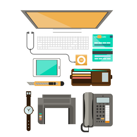 Workplace concept. Flat design. Set of objects on the table Foto de archivo - 128163206