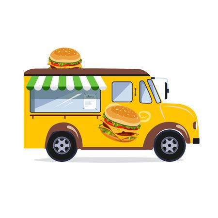 Street food van. Fast food delivery. Flat design vector illustration Stock Vector - 128163208