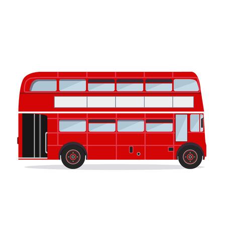Diseño plano vectorial. Silueta de color de autobuses de Londres Ilustración de vector