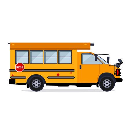 Concetto di stile piano dell'illustrazione di vettore dello scuolabus