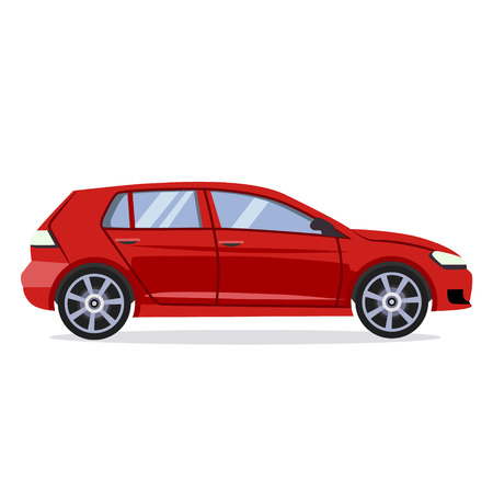 Vector red car flat style illustration concept Banque d'images - 128163213