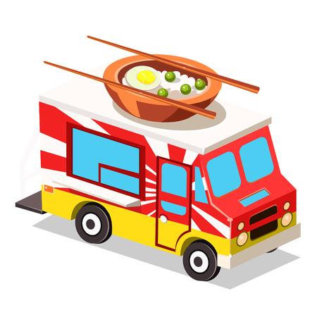 Mobile food Van, Food Truck vector illustration Illustration