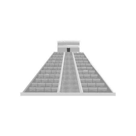 Mayan pyramid, Maya civilization symbol, American tribal culture element vector Illustration on a white background