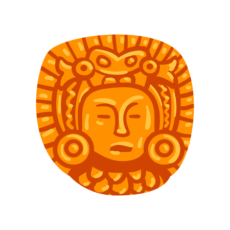 Maya civilization symbol, American tribal culture element vector Illustration isolated on a white background. Фото со стока - 128163218