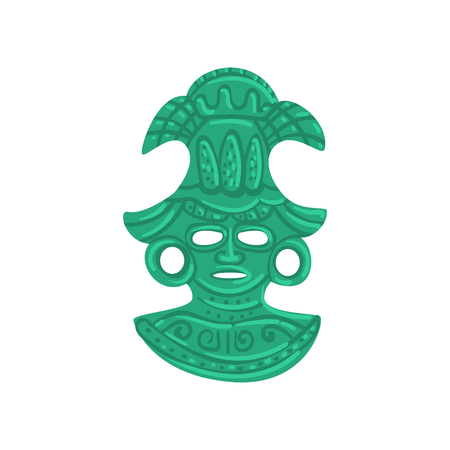Stone tribal mask, Maya civilization symbol, American tribal culture element vector Illustration isolated on a white background.  イラスト・ベクター素材