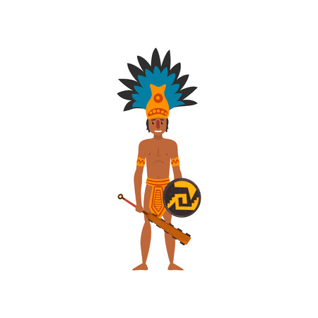 Mayan Indian, Maya civilization character, American tribal culture element vector Illustration isolated on a white background.