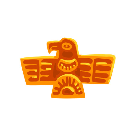 Maya civilization symbol, ancient totem bird, American tribal culture element vector Illustration isolated on a white background.
