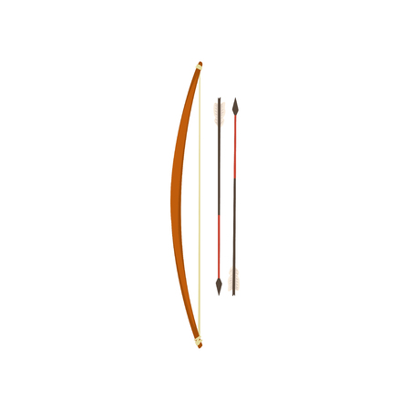 Bow and arrow, Maya civilization weapon, American tribal culture element vector Illustration isolated on a white background.  イラスト・ベクター素材