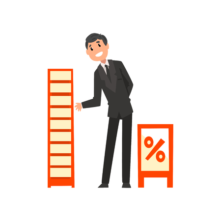 Businessman character promoting products or services on a stand at trade fair or exhibition vector Illustration isolated on a white background.