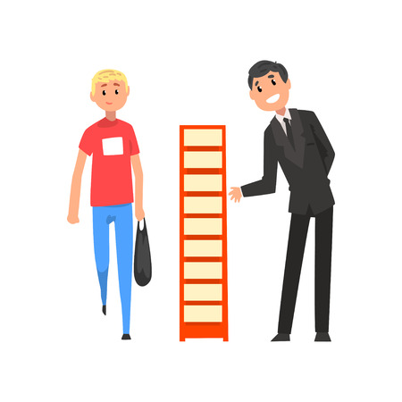 Businessman character advertising products or services on a stand at trade fair or exhibition vector Illustration isolated on a white background.  イラスト・ベクター素材