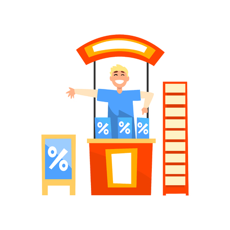 Smiling male promoter character promoting advertisement on a promo stand vector Illustration isolated on a white background.