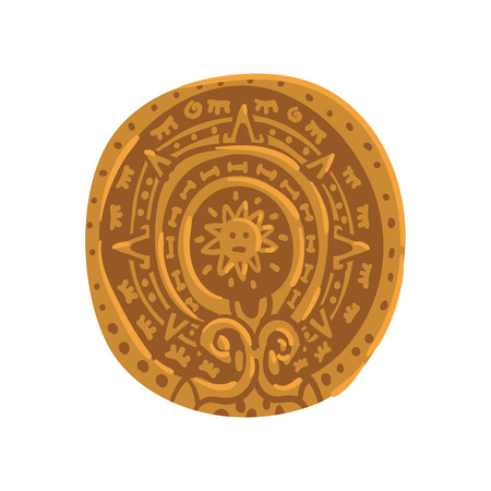 Mayan calendar, Maya civilization symbol, American tribal culture element vector Illustration on a white background  イラスト・ベクター素材