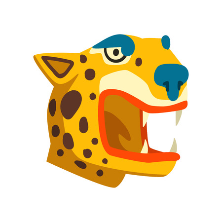 Tiger head, Maya civilization symbol, American tribal culture element vector Illustration isolated on a white background.