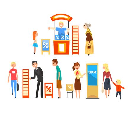 Promoter-Charaktere, die Werbung auf einem Promo-Ständer fördern, Menschen, die eine Messeausstellung besuchen, Vektor-Illustration auf weißem Hintergrund Vektorgrafik