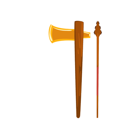 Axe and spear, Maya civilization weapon, American tribal culture element vector Illustration isolated on a white background. Иллюстрация