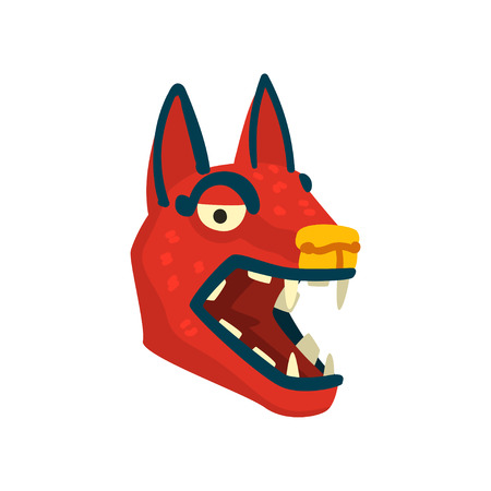 Dog head, Maya civilization symbol, American tribal culture element vector Illustration isolated on a white background.  イラスト・ベクター素材