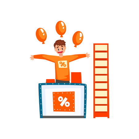 Cheerful male promoter character promoting advertisement on a promo stand with balloons vector Illustration isolated on a white background.
