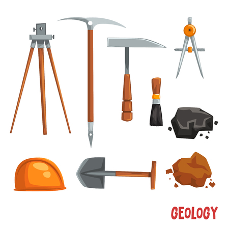 Geological or mining industry equipment, geodetic instruments and tools vector Illustration on a white background Illustration