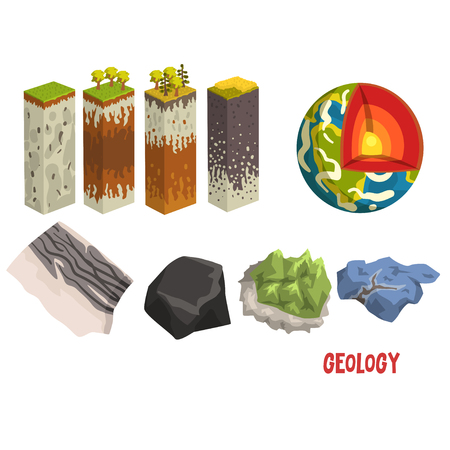 Geology science elements, stratigraphic columns, Earth detailed structure,mineral stones vector Illustration isolated on a white background.