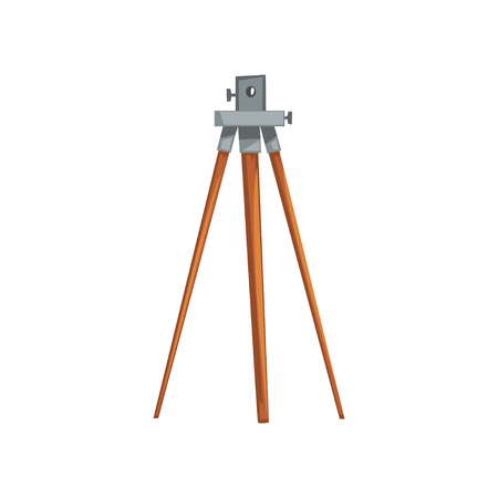 Instrumento de nivelación geodésico, equipo de la industria geológica o minera vector ilustración aislada sobre fondo blanco. Ilustración de vector