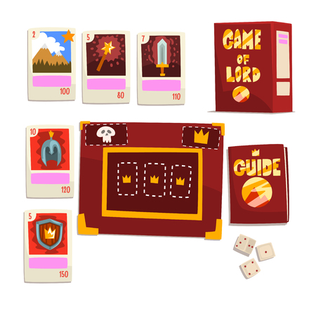 Game of Lord magic board game elements set vector Illustration isolated on a white background. Standard-Bild - 128163236