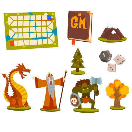Magic board game elements set, fantastic fairytale characters, landscape elements, board game map vector Illustration isolated on a white background.