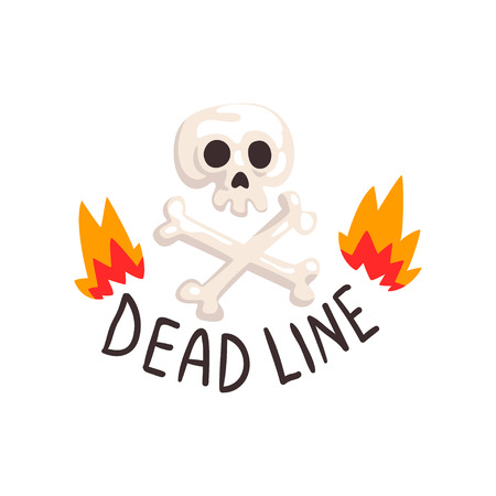 Deadline in fire flames, skull and crossbones, time management, productivity, efficiency, business concept vector Illustration isolated on a white background. 向量圖像