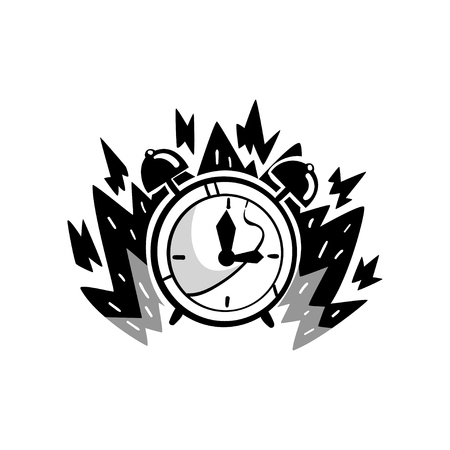 Clock in a fire, deadline, punctuality, time control concept, time is running out vector Illustration on a white background