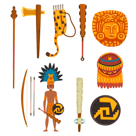 Maya civilization symbols set, ancient American tribal culture elements vector Illustration isolated on a white background.