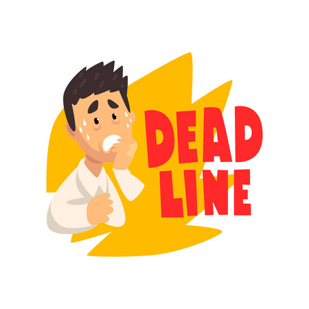 Overworked and stressed businessman or office worker, deadline concept vector Illustration isolated on a white background.
