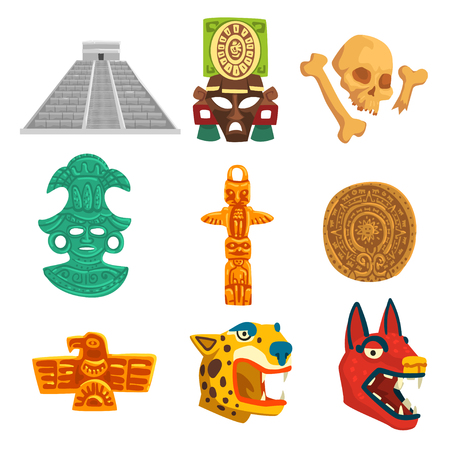 Maya civilization ethnic symbols set, American tribal culture elements vector Illustration isolated on a white background.  イラスト・ベクター素材