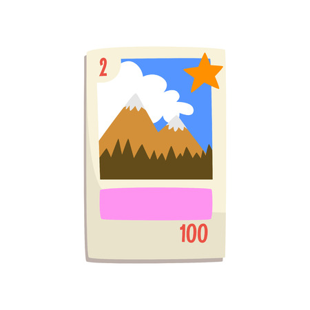 Board game card with mountains vector Illustration isolated on a white background.