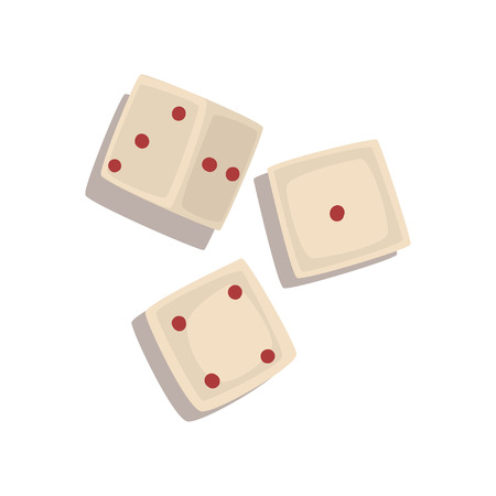 Three dice cubes, board game element vector Illustration isolated on a white background.