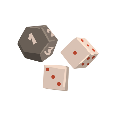 Dice cubes, board game element vector Illustration isolated on a white background.