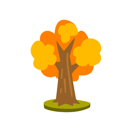 Tree with yellow leaves vector Illustration isolated on a white background. Illustration