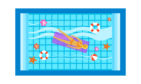 Young beautiful woman relaxing on inflatable mattress at swimming pool, top view vector Illustration isolated on a white background.